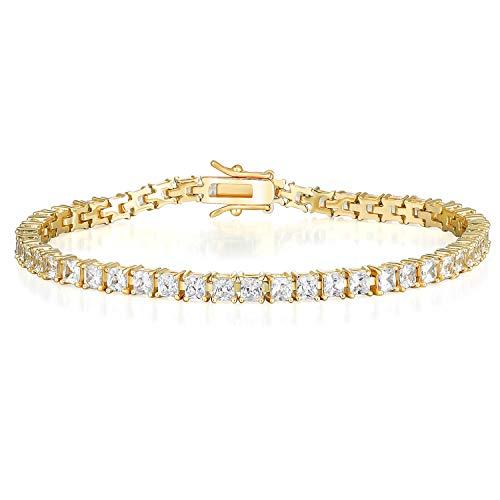 XBRN 18K White Gold/Gold Plated Princess Cut Cubic Zirconia Classic Tennis Bracelet 7.5 Inch (B-Gold-3mm-4 Prong)