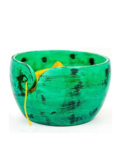 Bols de rangement pour balles de fil de première qualité exquis   Distributeur de fil fonctionnel peint à la main, joli décor (moyen (7 x 3 x 7 pouces), vert caméléon)