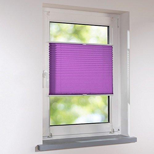 Plissee 50 x 130 cm lila-aubergine verspannt Klemmfix ohne Bohren Faltrollo Raffrollo Sonnen- & Sichtschutz