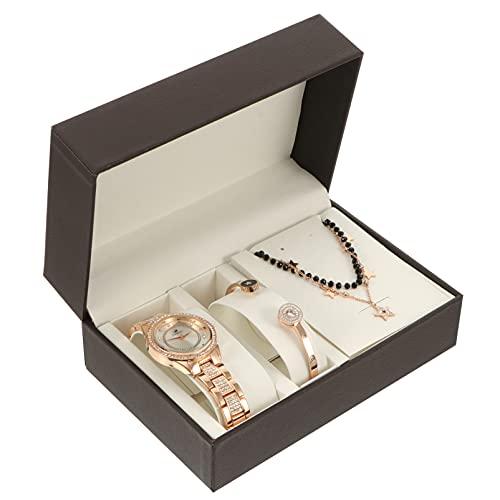 ibasenice 1 Juego de Joyas para Mujer Reloj de Cuarzo Collar de Diamantes de Imitación Pulsera de Regalo con Caja para Mujer Niñas Fiesta de Cumpleaños Regalos de Amistad