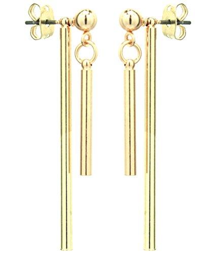 2LIVEfor Ohrringe Stab Silber und Gold Lang hängend Zylinder eckig Ohrringe Silber hängend Elegant Stab doppelt Ohrringe modern schlicht geometrisch Ohrhänger rund Ohrstecker Kugel (Gold)