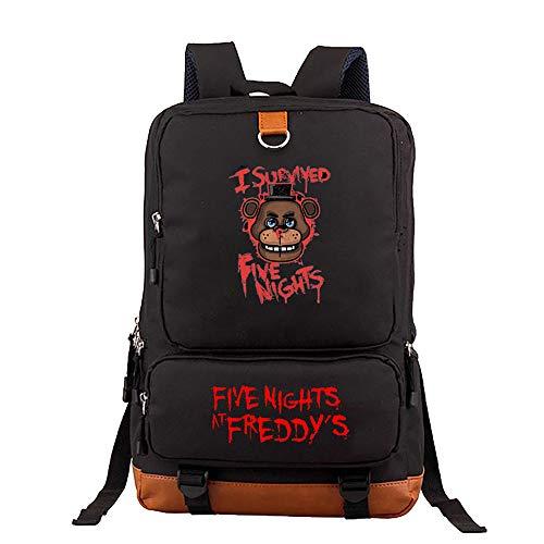 Levuyou Kid's Five Nights at Freddy'S Backpack para Viajar al Aire Libre, Mochila Escolar Duradera y multifunción / 16.9 * 11.1 * 5.5inch