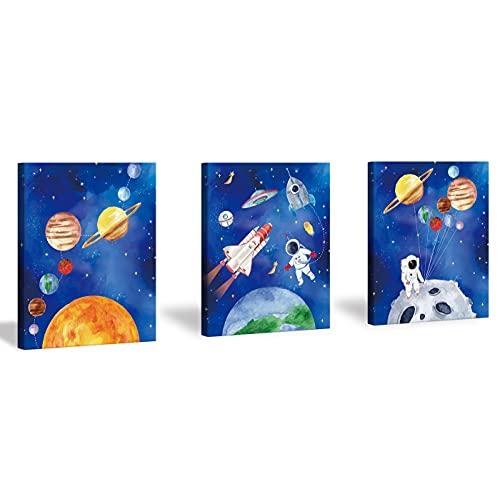 CHDITB Framed Outer Space Art Prints Cartoon Watercolor Planet Wall Art Set...