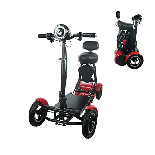 Fold and Travel Mobility Scooters for Adults 4 Wheel Long Range Mobility Scooter Electric Wheelchair Power (RED)