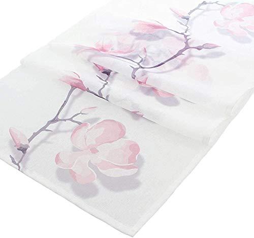 khevga Tischläufer Oster-Deko Frühling Tischdeko weiß rosa Magnolie 45 x 150 (1)