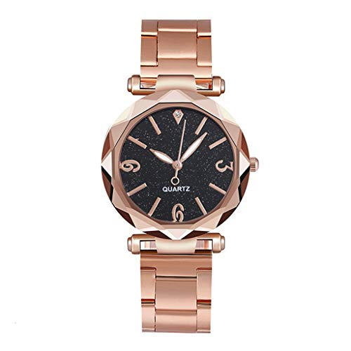 Posional Reloj de Oro Rosa para Mujer Reloj de Cuarzo Analógico de Malla de Acero Inoxidable para Mujer de Moda Casual Relojes Negocios Ultrafino Creativo y Sencillo Wristwatches