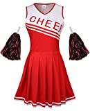 GRAJTCIN Womens Cheerleader Costume High School Girl Halloween Party Cheerleading Outfit with Pom Pom(Small, Red)