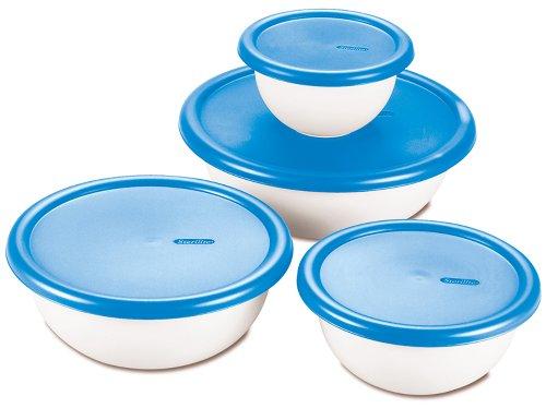 Sterilite 8 Piece Covered Set Bowl, Multisize, White & Blue
