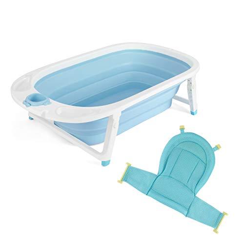 Fascol Babywanne Faltbar, Babybadewanne mit Ablaufstöpsel und Sicherheitsbadesitz, Badewanne für Neugeborene 0-36 Monate, Blau