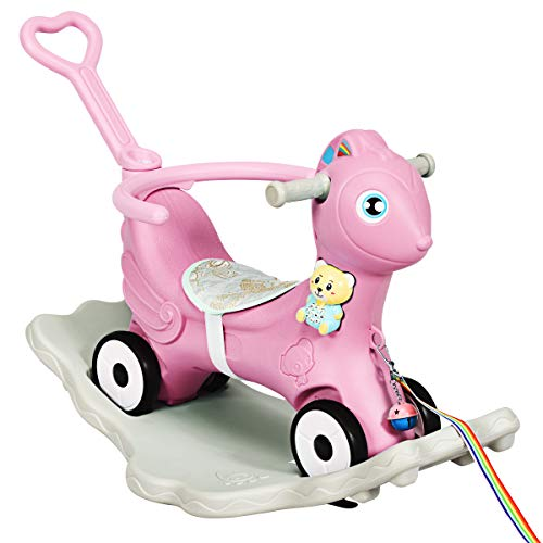 COSTWAY 3 in 1 Baby Rocking Horse, Kids Ride on Toy with Music, Safety Bar, Parental Handle and Cushion, Toddler Balance Bike Sliding Toys for 1–5 Year Old (Pink)