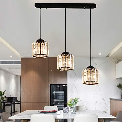 Kristall Pendelleuchte 3 Flammig Kristalllampe Modern Luxus K9 Crystal Hängelampe für Kücheninsel Esszimmer Esstisch Bar Cafe Loft Balkon Treppe Wohnzimmer Kronleuchter Höhenverstellbar, L85CM