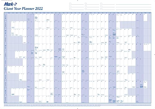 Mark-it 2022 Wall Planner – Giant Laminated Wall Calendar – 84cm X 117cm – A0 Size Wall Planner – Great For Offices, Schools, Students, Educators, Businesses And Families (Laminated)