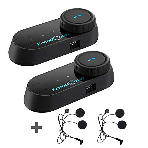 FreedConn 2 pcs Motorcycle Helmet Communication Systems Helmet Bluetooth Intercom with Soft Headset for Full Face and Integral Motorbike Helmet (FM Radio/Hand-Free/Waterproof/Intercom Range 800M)