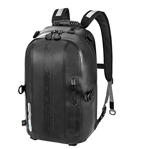 DOLA Waterproof Motorcycle Helmet Bag, 23L Large Capacity Motorcycle Tank Bag Rider Backpack with Ergonomic Comfortable Shoulder Strap for Outdoor Hiking Cycling