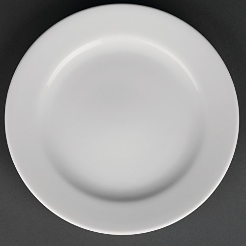 Royal Porcelain Lot de 12 assiettes à bord large Blanc 210 mm