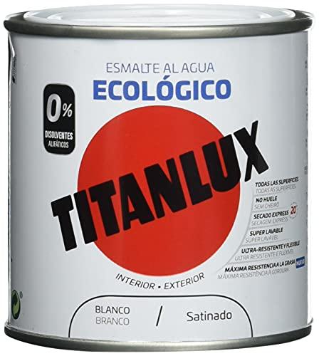 Titanlux - Esmalte agua ecologico santinado, Blanco, 250ML (ref. 01T056614)