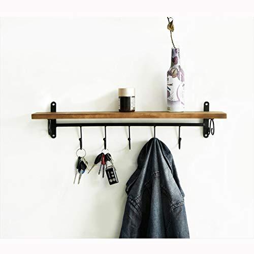 JYSXAD Estante para abrigos, perchero de madera montado en la pared con 5 ganchos de metal y estante superior para almacenar (accesorios)
