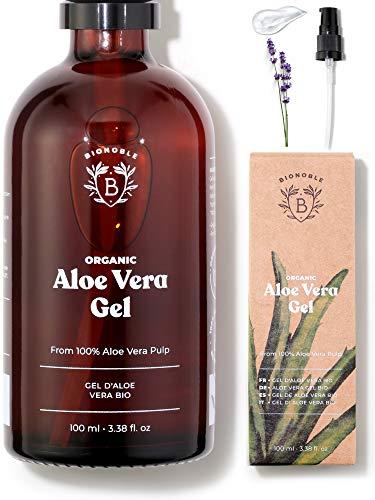 GEL ALOE VERA BIO   Fabriqué avec Pulpe d'Aloe Fraîche 100% Pure + Huile Essentielle de Lavande Bio   Sans Xanthane   Visage, Contour des Yeux, Corps, Cheveux   Bouteille en Verre + Pompe (100ml)