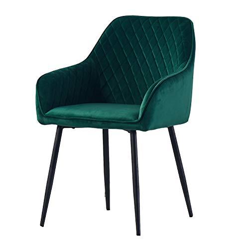 AINPECCA Dining chair Green Velvet Armchair with Armrest & Backrest Desk Chair Upholstered seat with Black Metal legs Dressing Chair (Green Velvet, 1)