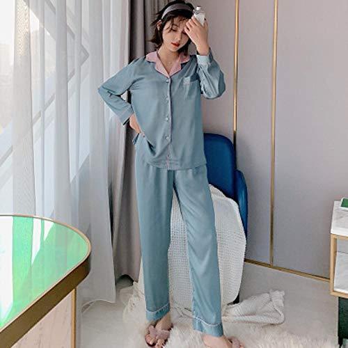 XTQDM Bademantel,Zweiteiliges Pyjama-Set für Frauen Solid Spring Silk Pyjamas Kontrastkragen Hemden und Hosen Sexy Damen Pyjama Nachtwäsche L grau blau