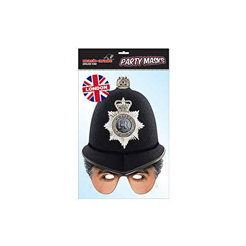 British Policeman Half Mask, Mask-arade Face Card Mask, Character Fancy Dress