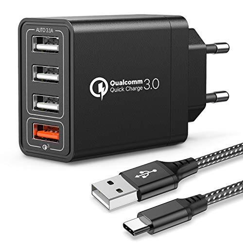 Joomfeen USB Ladegerät mit Type C Ladekabel,Quick Charge 3.0 30W/6A USB Ladeadapter mit 4 Ports Schnellladegerät USB Netzteil Mehrfach Ladestecker für Samsung Galaxy S20/S10/S9/S8/Note,Huawei,XiaoMi