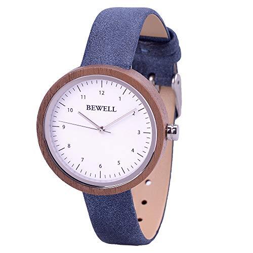 BEWELL Damen Armbanduhr Uhr Aus Holz Analog Japanisches Quarzwerk mit Lederarmband, mit Quadratischer Geschenkbox (Nussbaum)