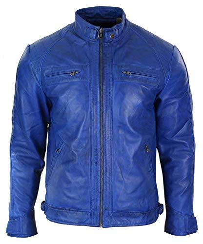 Aviatrix Chaqueta Estilo Retro Biker de Cuero autentico Suave para Caballero en Mucho Colores Azul- Small