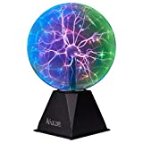 Katzco Colorful Plasma Ball - 8 Inch Static Electricity in a Vacuum Pressurized Glass Globe - Multicolored, Nebula, Thunder Lightning, Plug-in - for Parties, Decorations, Prop, Home, STEM