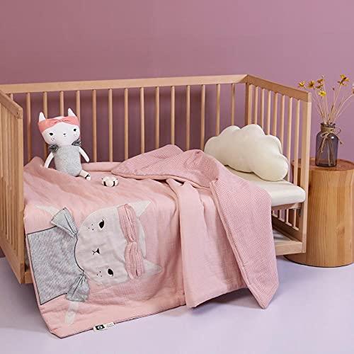 XIAORUI Manta para Todas Las Estaciones,Aire Acondicionado para bebés de Dibujos Animados Bordados en escabeche, Infantil Doble algodón Hilado de algodón algodón Verano Fresco-Gato_150 * 200