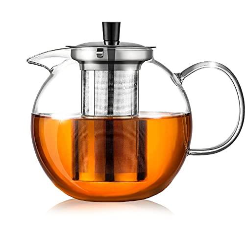 Ehugos 1500ML Teekanne Glas, Teekanne mit Edelstahl Sieb, 3 in 1 Glasteekanne Hitzebeständig Hochwertige Teebereiter für Kalte und Heiße Getränke-Spülmaschinenfest