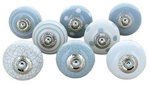 G Decor - Pomelli in ceramica, stile vintage shabby chic, per mobili e credenze, colore grigio e bianco, set da 8