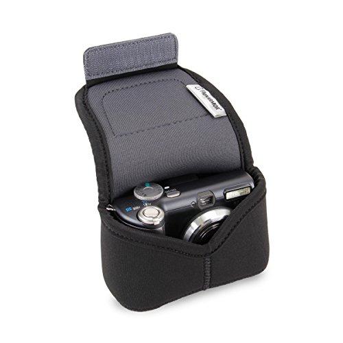 USA Gear - Custodia morbida in neoprene per fotocamera digitale compatta e intercambiabile, compatibile con fotocamere Panasonic, Samsung, Canon e altre fotocamere compatte - Nera