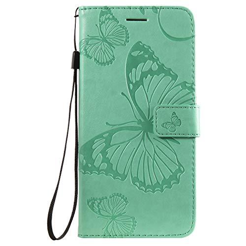 Jeewi Hülle für Nokia 8.1 Plus Hülle Handyhülle [Standfunktion] [Kartenfach] [Magnetverschluss] Tasche Etui Schutzhülle lederhülle klapphülle für Nokia 8.1 Plus - JEKT042000 Grün