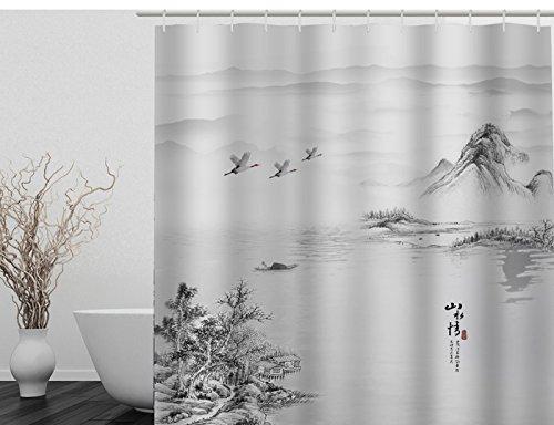Rideau de Douche Baignoire Salle de Bains Moderne Polyester Imperméable Etanche Anti Moisissure avec 12 Anneaux Peinture des Paysages 180×180CM