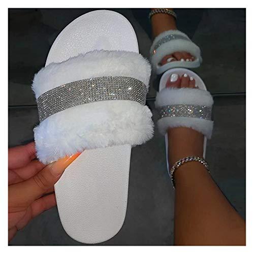 Youpin Toboganes de piel para mujer, sandalias peludas, diapositivas de purpurina con zapatillas de piel de furia, zapatos al por mayor Dropshipping gratis (color: blanco, tamaño del zapato: 8.5)