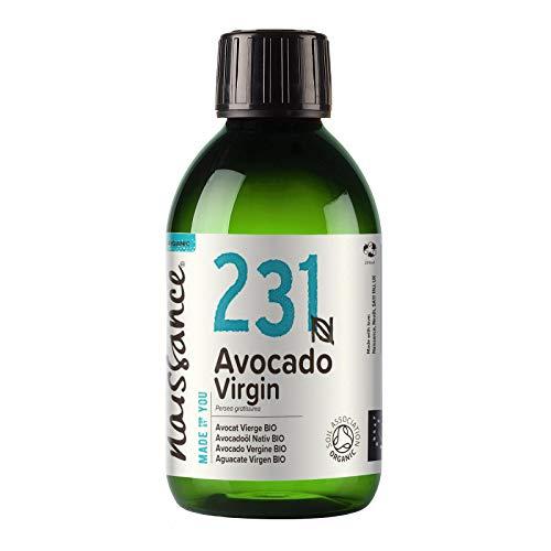 Naissance Aceite Vegetal de Aguacate BIO n. º 231 – 250ml - 100% puro, virgen, prensado en frío, certificado ecológico, vegano y no OGM