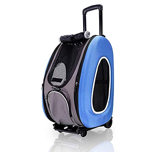 DOUDOU Pet Rolling Carrier Backpack Wheel Around, 4-in-1 Pet Travel Carrier, Airline Approved Cat Dog Carrier for Indoor & Outdoor Use, for Hiking Travel Outdoor