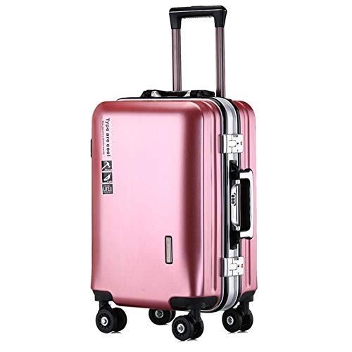 Adlereyire Trolley Suitcase Lightweight Durable Carry On Cabin Hand Luggage Set, Travel Bag with 4 Wheels (Color : Rose-gold, Size : 35 * 22 * 55cm)