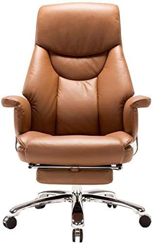 CSD Silla de Cuero del Ordenador Sillón Giratorio de la PU Artificial Silla reclinable sofá Ordenador Apoyabrazos Diseño con el reposapiés Que soportan el Peso de 150kg (Color : Brown)