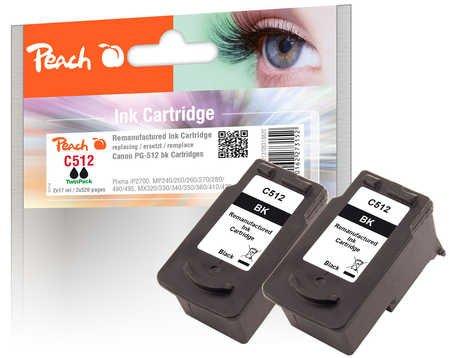 Peach Doppelpack Druckköpfe schwarz kompatibel zu Canon PG-512