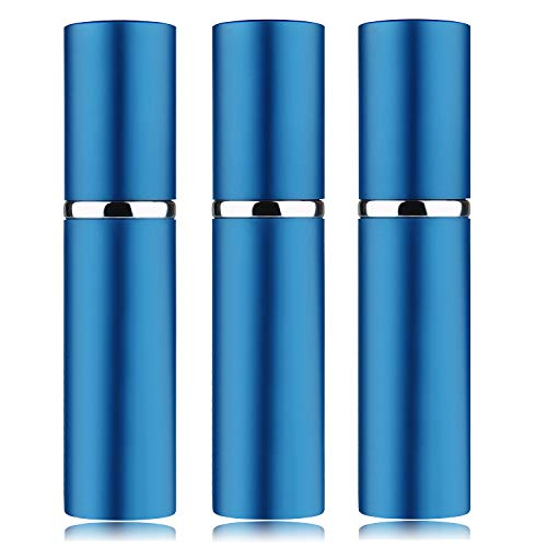 3Pcs 10ML Portable Mini Refillable Perfume Scent Aftershave Atomizer Empty Refillable Spray for Purse or Travel (Navy Blue)