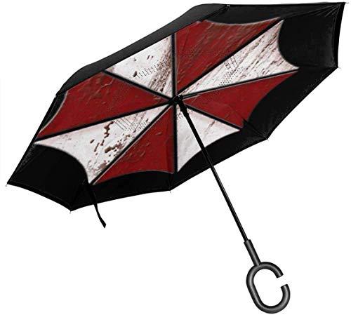 Umbrella Corp Bloody Logo Resident Evil Paraguas invertido de Doble Capa para el automóvil Reversa Plegable Al revés Manos en Forma de C - Ligero y a Prueba de Viento y Ndash;