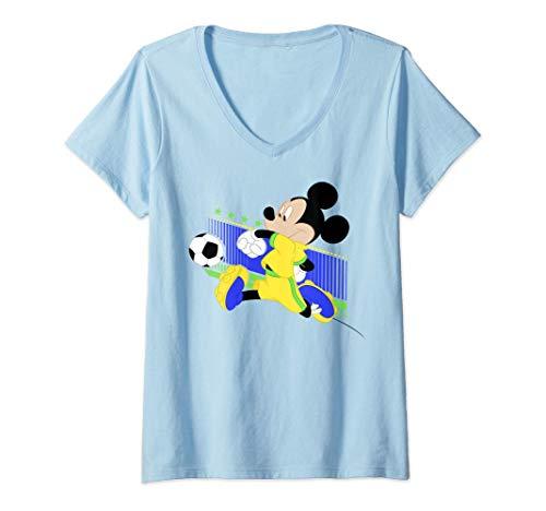 Femme Disney Mickey Mouse Brazil Soccer Uniform Portrait T-Shirt avec Col en V