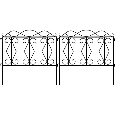 Amagabeli 24inx10ft Decorative Garden Fence Outdoor Black Square Thicken Metal Wire Fencing Rustproof Landscape Wire Patio Fences Flower Bed Animal Dogs Barrier Border Edge Section Decor Panels FC04