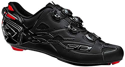 Sidi Shot Vent Carbon Cycling Shoe - Men's Black/Matte Black with Red Liner, 42.0