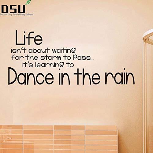 BLOUR DIY Tanz im Regen Englisch Text Zitat Wandaufkleber wasserdicht Kunst Aufkleber Selbstklebende Tapete für Kinder Schlafzimmer Home Decor