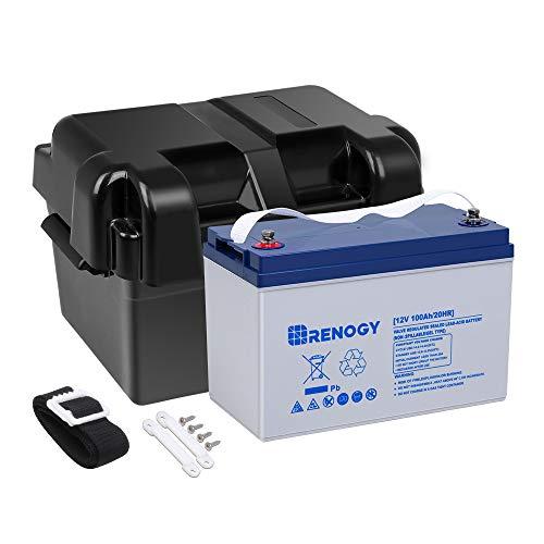 Renogy 12V 100AH Deep Cycle Hybrid Gel Battery w/Battery Box for Solar Wind RV Marine Camping ups Wheelchair Trolling Motor