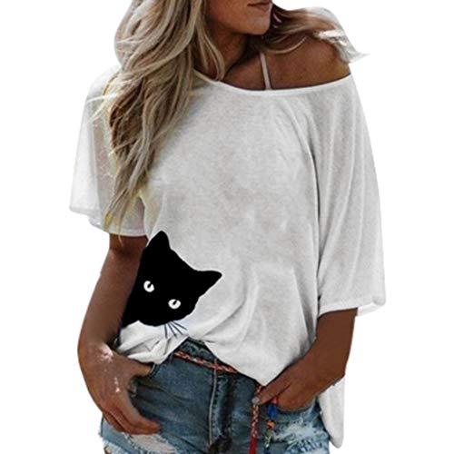 Xmiral Lange Ärmel Bluse Damen Katze Drucken Einfarbig Lose Tops mit Rundhals Beiläufig Sommertop T-Shirt Oberteil Shirt(Weiß,M)