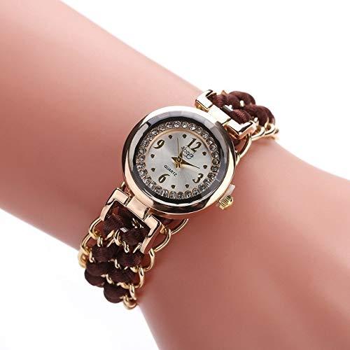 N / A Accesorios Reloj 377 Mujeres Que Hacen Punto de la Cuerda de la Cadena de Pulsera de Cuarzo, de Mujer Chica Virgen, Diámetro del dial: 25mm (Color : Dark Brown)